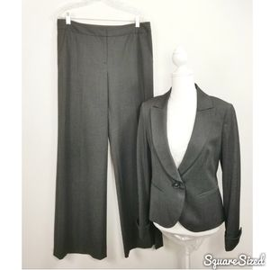 Lafayette 128 Grey Wool Wide Leg Suit Size 4 /6